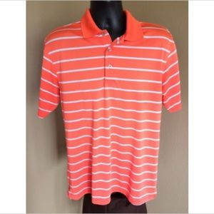 PGA Tour Golf Shirt L Striped Orange White Poly